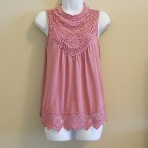 Exhilaration Pink Lace Top